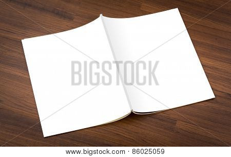 Blank catalog, magazines,book mock up on wood background ( with 4 layer clipping path : Right page,Border,Near border left page,left page)