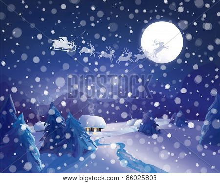 Vector Santa Claus Sleigh,  winter night scene.