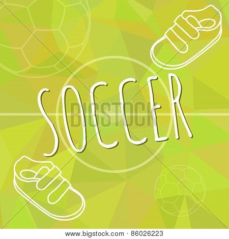 Template for advertising brochure with a sneakers and soccer ball on a green spring trendy polygonal