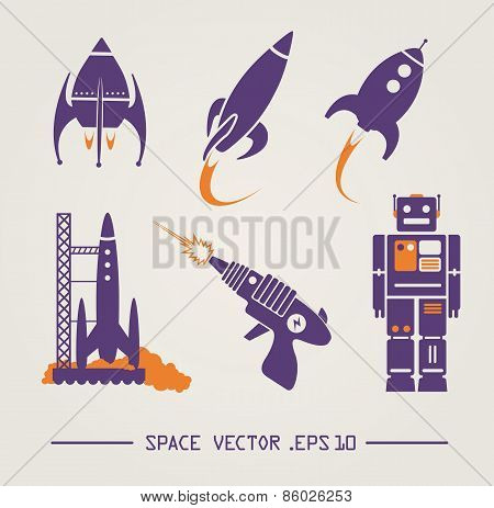 vector space items retro style