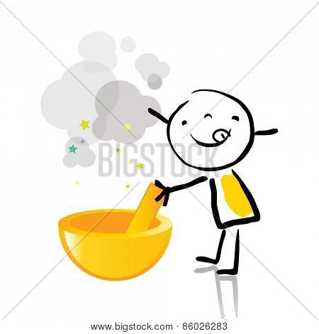 Little girl cooking healthy food, chef. Vector line art, doodle style sticky figure.