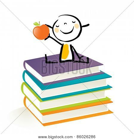 Happy little girl, sitting on a pile of books. Happy kids education doodle style vector illustration.