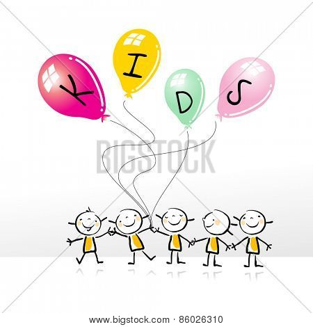 Happy kids group, holding colorful balloons, doodle style, sketchy vector illustration. Kids playing.