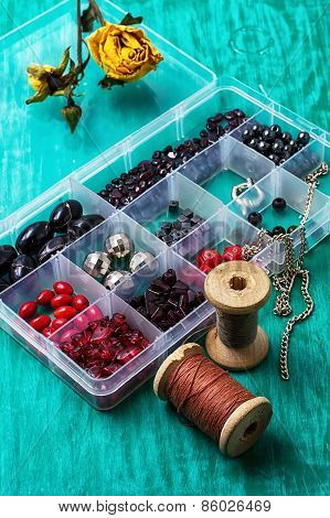 box with beads and thread