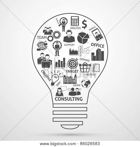 Business team management concept bulb icon