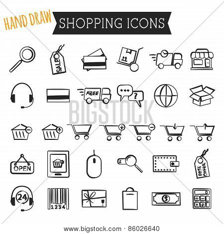 Set of On-Line Shopping icons isolated on white background. Hand draw style. Outline. Can be use as