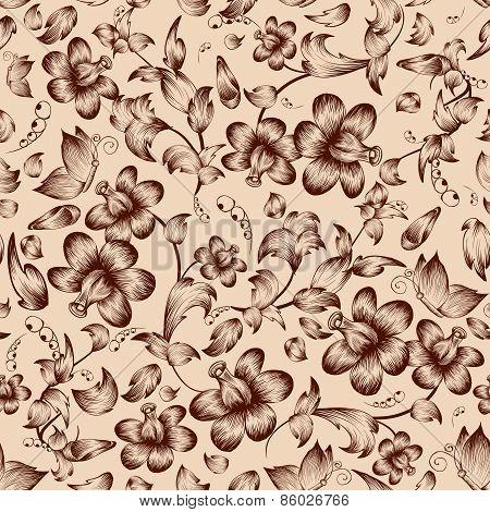 Vintage flower ornate seamless pattern