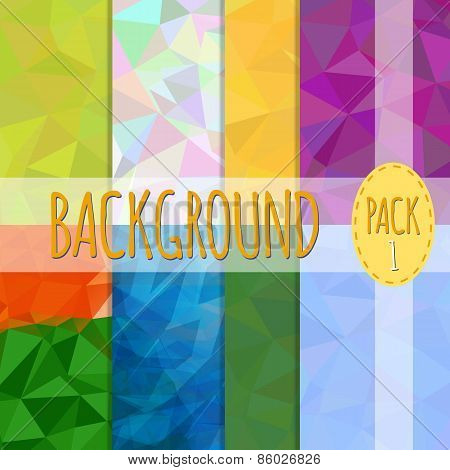 Set of polygonal backgrounds. 8 various backgrounds. Easy to resize and recolor