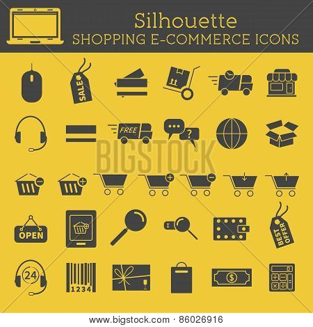 Set of  Silhouette On-Line Shopping icons isolated on yellow background. Cute design. Can be used as