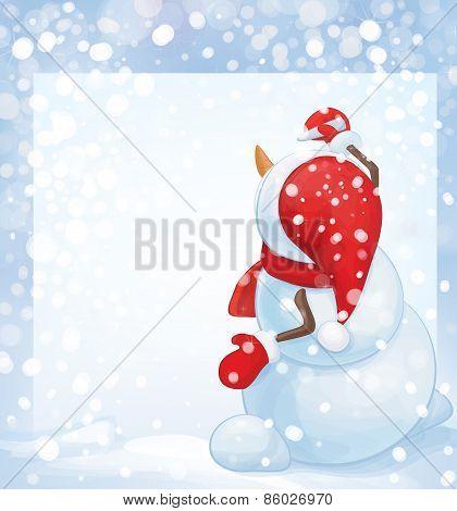 Vector  snowman  writes on blank.