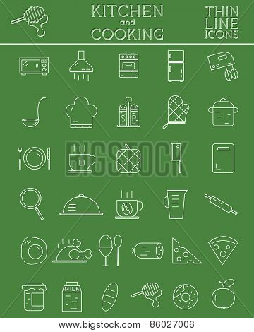 Kitchen and Cooking outline icons set. Morning coffee. tea and breakfast symbols and elements.