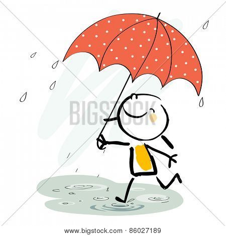 Little girl with umbrella in the rain, smiling. Seasonal vector doodle illustration, sketchy style.
