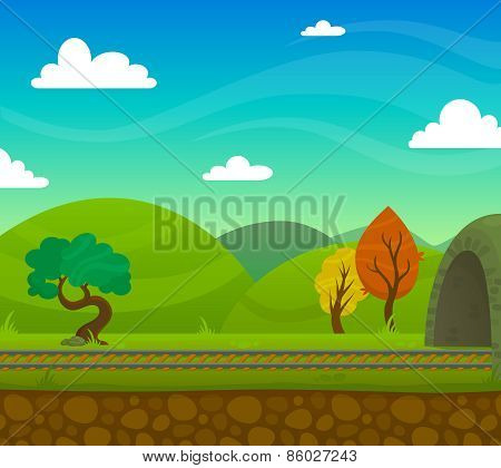 Railway Landscape Illustration