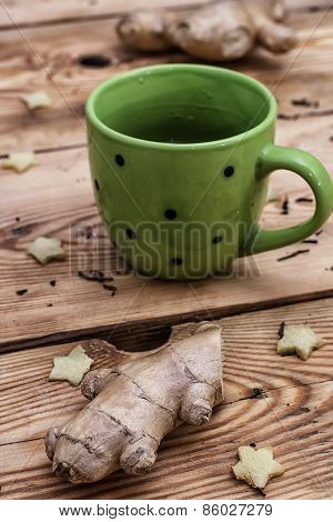 Cup of tea from ginger root