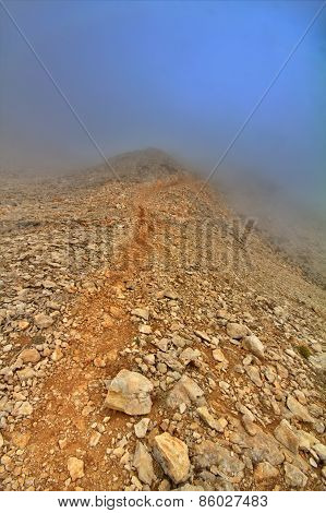 Very Beautiful Mountain Trail In Fog