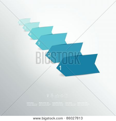 Color arrow. Step by step template.
