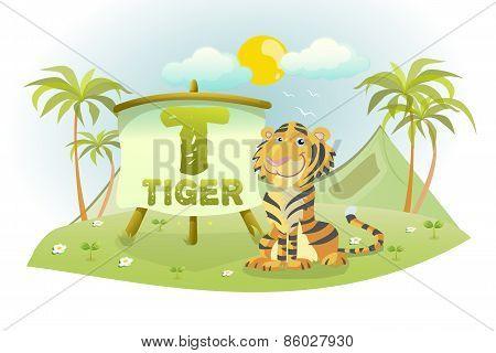 Funny Cartoon Alphabet T With Tiger