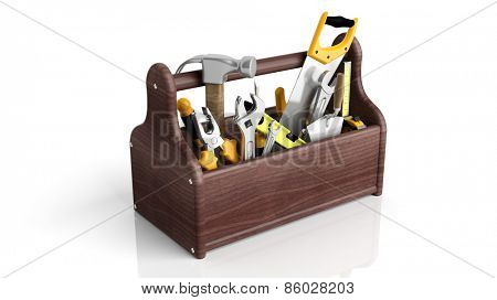 Various tools in toolkit, isolated on white background