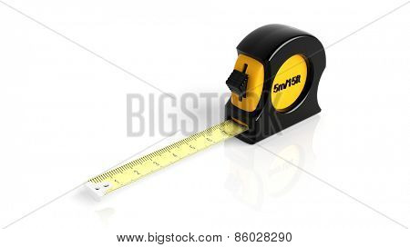 Self-retracting tape measure, isolated on white background