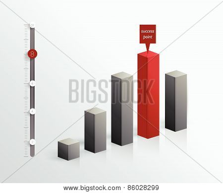 3 D graph for infographic.