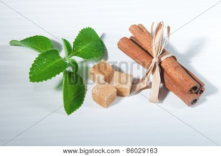 Mint Leaves Pieces Of Sugar And Cinnamon