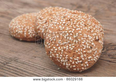 Oatmeal Cookies On A Wooden Background