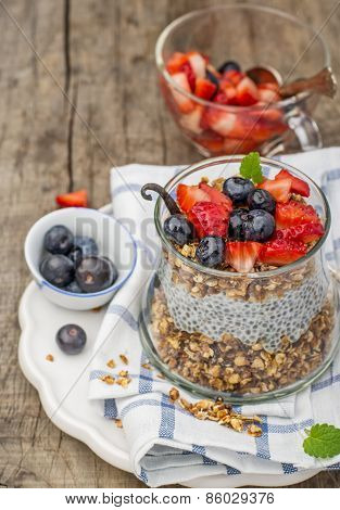 Chia seed pudding made with blueberries, strawberries vanilla and mint
