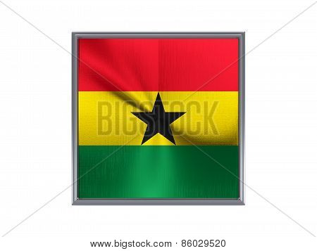 Square Metal Button With Flag Of Ghana