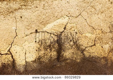 Creative Abstract Brown Background Concrete, Weathered With Cracks And Scratches. Landscape Style. G