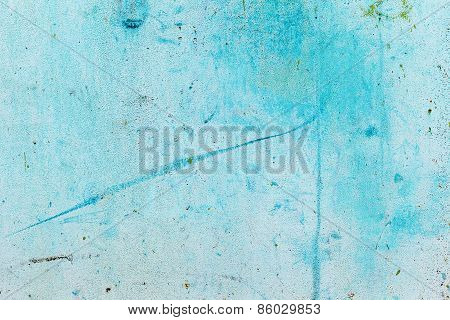 Abstract Background Concrete Painted With Blue Paint, Weathered With Cracks And Scratches. Landscape