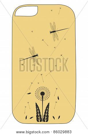 Coverage phone with background with dragonflies