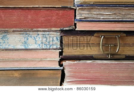 Close up of a stack of hardback books