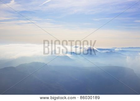 alpine landscape with peaks