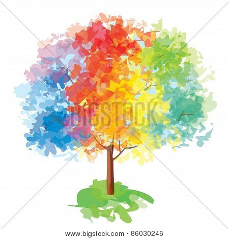 Vector abstract colorful tree.