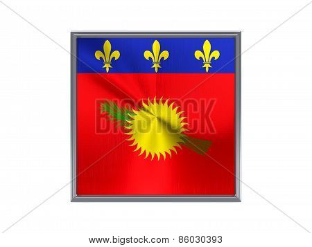 Square Metal Button With Flag Of Guadeloupe