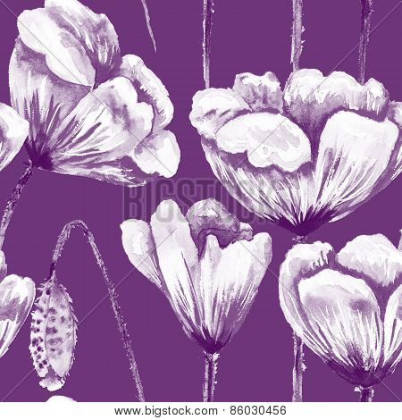 Purple and white poppy pattern