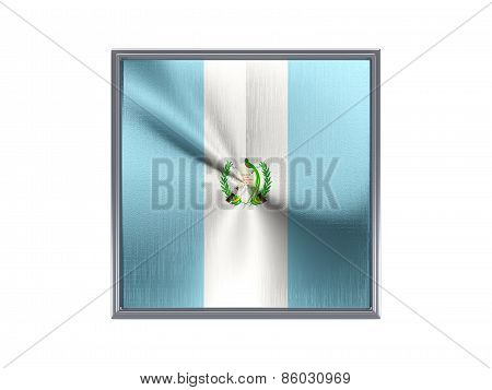 Square Metal Button With Flag Of Guatemala