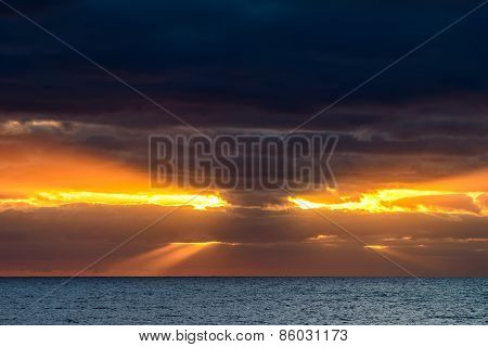 Dramatic clouds and sun rays