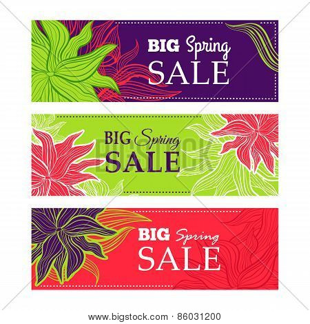 Spring sale banners with nature lace flowers
