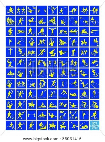 A Set Of Yellow And Blue Sport Icons