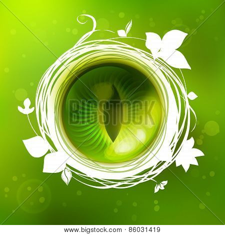 Green Eye Of Nature, Creative Illustration