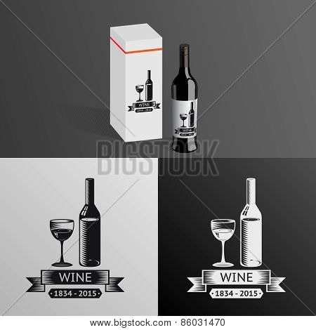 Wine Alcohol Drink Logo Symbol Bottle Glass ribbons Icon Box Mockup Template Vector Illustration
