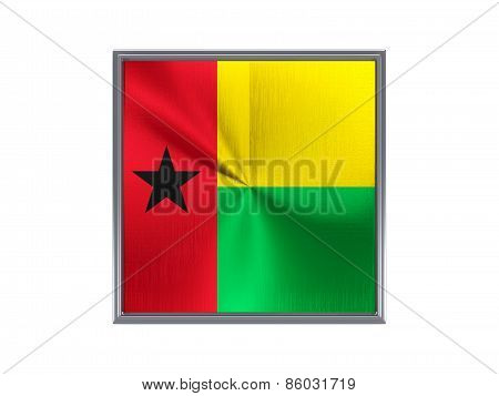 Square Metal Button With Flag Of Guinea Bissau