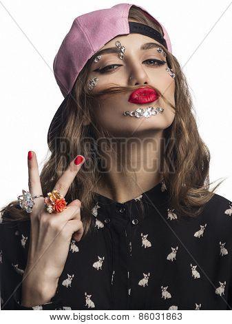 Fashion girl portrait.Accessory.