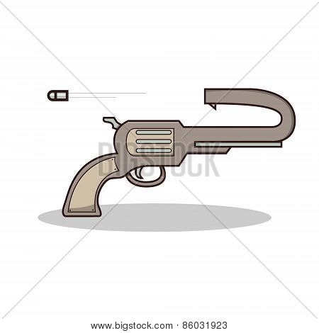 Isolated cartoon scuicide gun on fire