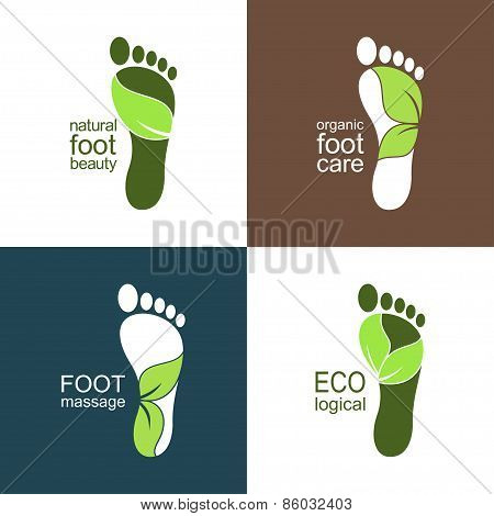 Footprints with green leaves