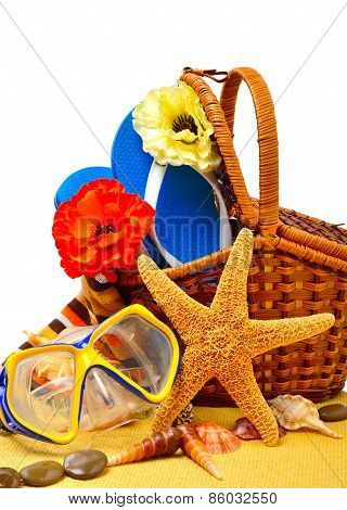 Wicker Basket, Flip-flops, Fishstar, Goggles On The Towel