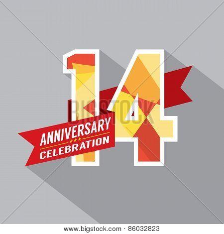 14Th Years Anniversary Celebration Design.