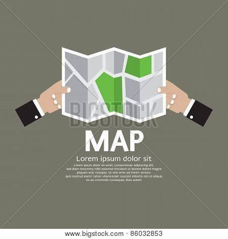 Paper Map In Hand.