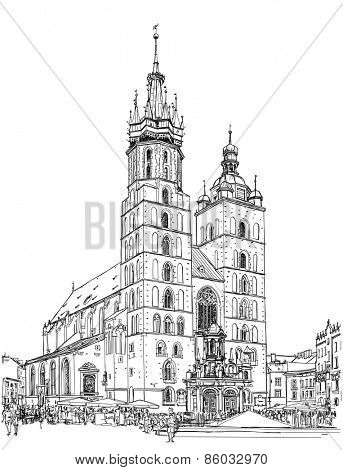The town square in Krakow & Church of St. Mary. Poland. Black & white vector sketch